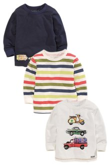 Next Ecru Car Print T-Shirts Three Pack (3mths-6yrs)