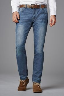 Next Blue Wash Belted Jeans With Stretch