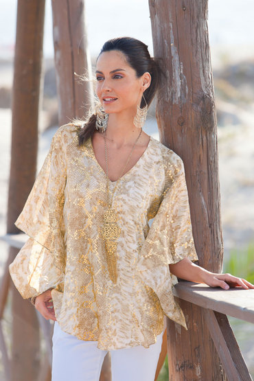 Together Foil Print Kaftan Top