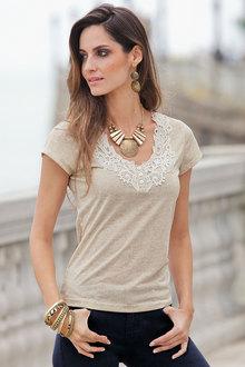 European Collection Lace Trim T-shirt - 122801