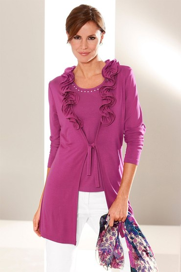 Capture European Ruffle Cardigan