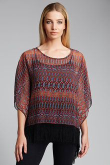 New Look African Horizontal Fringe Poncho