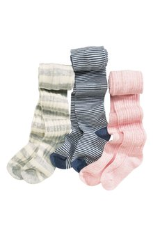 Next Pink Pretty Cable And Stripe Tights Three Pack (0mths-6yrs)