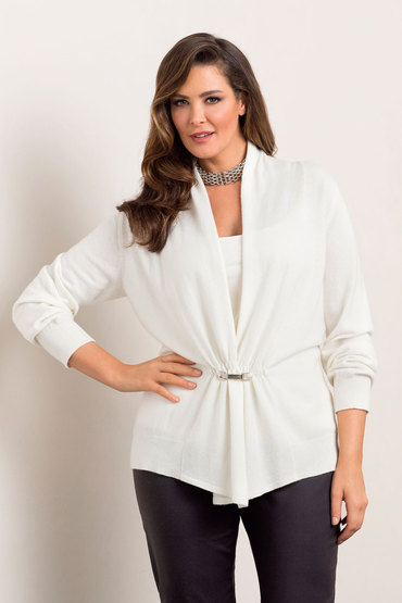 Plus Size - Grace Hill Woman Cashmere Blend Drape Front Cardigan