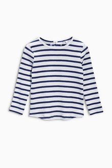 Next Navy/White Stripe Long Sleeve Top (3mths-6yrs)