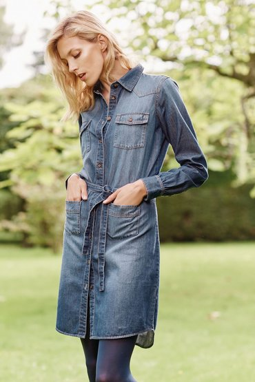 Next Denim Dk Blue Denim Shirt Dress