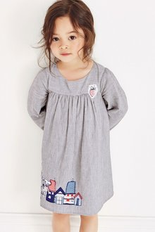 Next Blue Ticking Stripe Character Dress (3mths-6yrs)