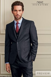 Next Navy Signature Sharkskin Tailored Fit Suit Trousers
