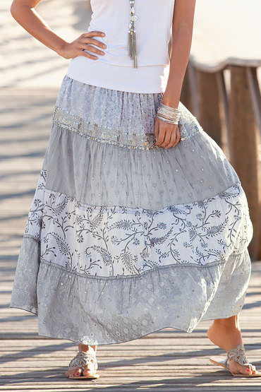 European Collection Sequin Maxi Skirt