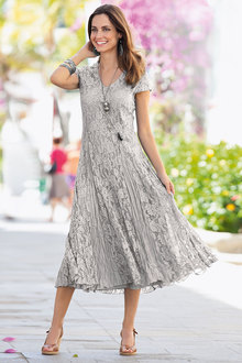 European Collection Crinkled Lace Dress - 133684
